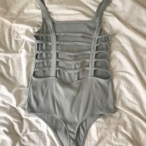 Express Tops - Baby blue ribbed caged bodysuit